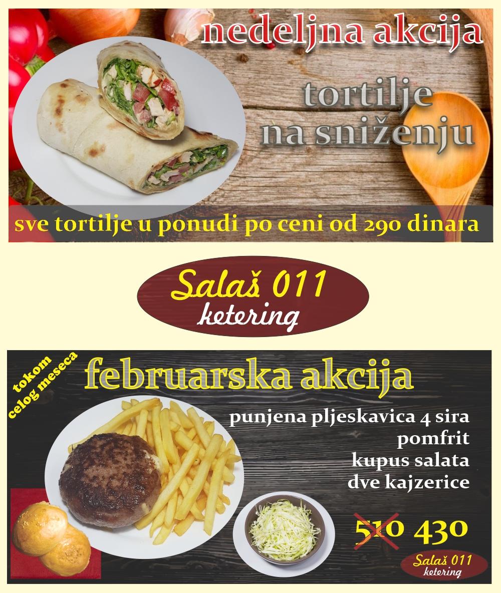 Akcije u Salašu,. Uvek novo, uvek sveže. Online poručivanje, dostava hrane, ketering, Novi Beograd - Zemun.